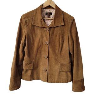 Danier Leather Suede Cropped Blazer Vintage Y2K 90s Jacket Tapered Quality SZ M